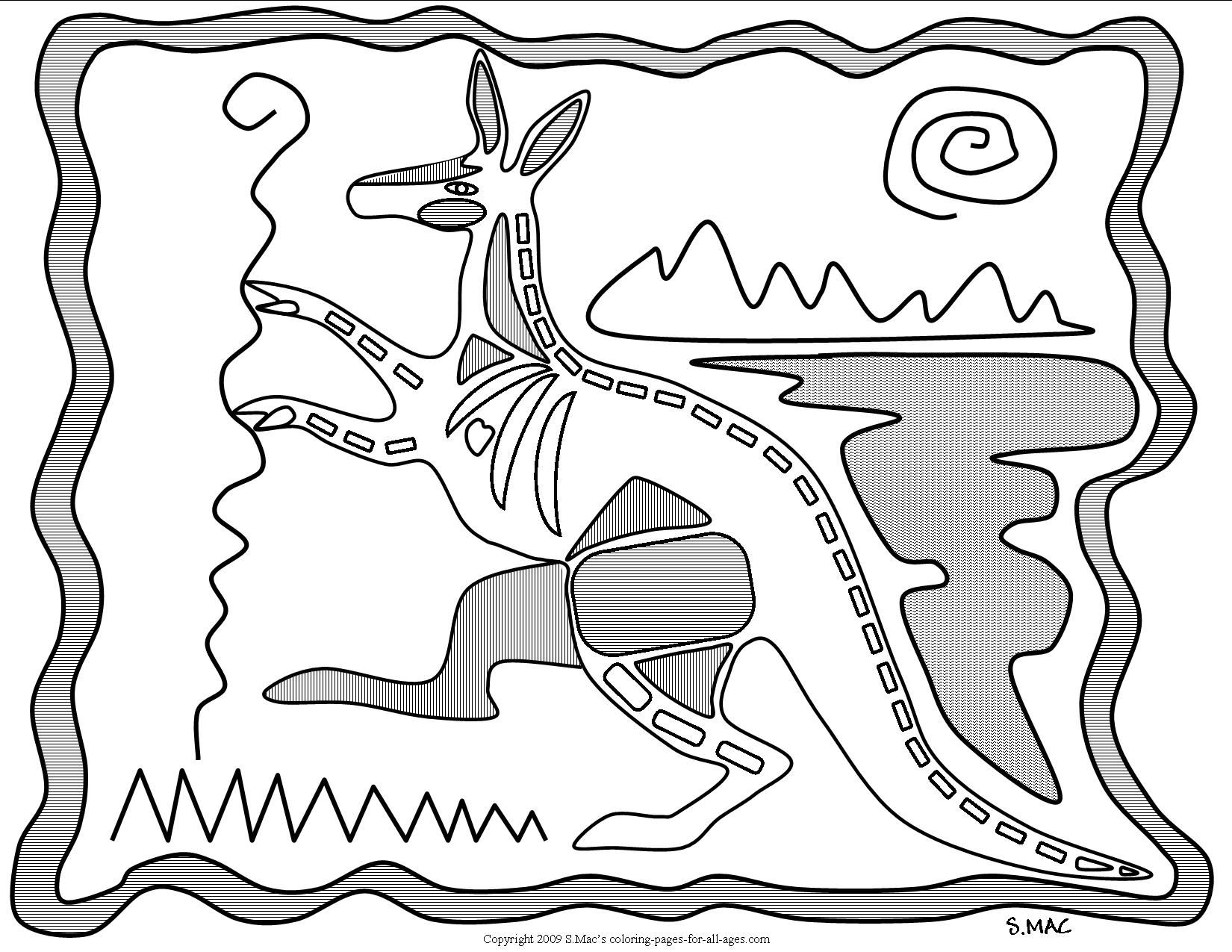 Free coloring pages x ray - S Mac S X Ray Art Kangaroo Coloring Page