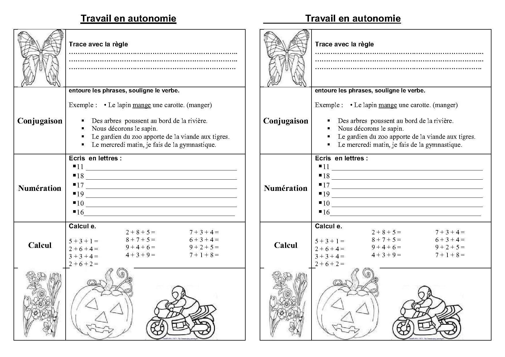 fiches et travail en autonomie ce1,ce2 en français et ...