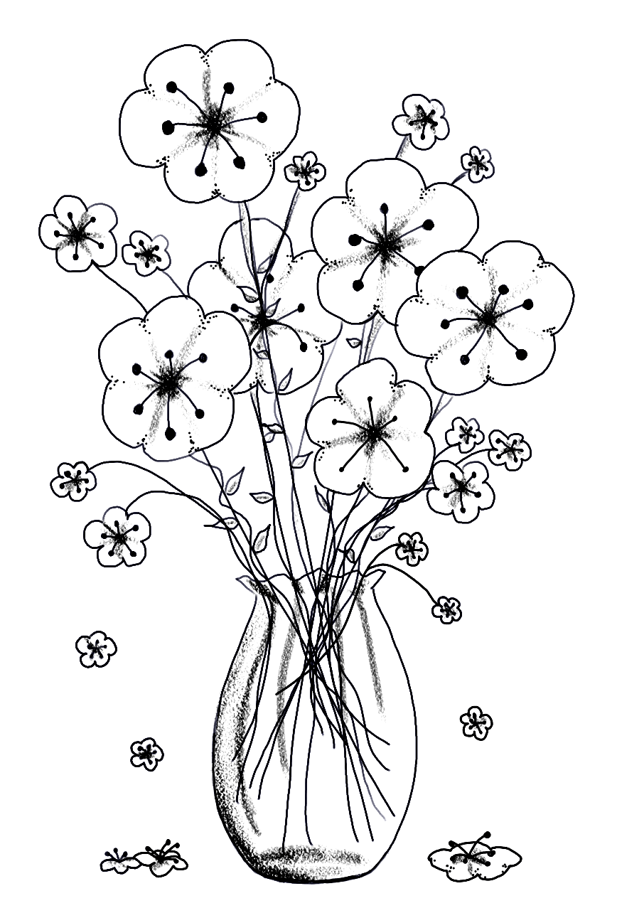 Flower vase adult coloring page coloring pages pinterest