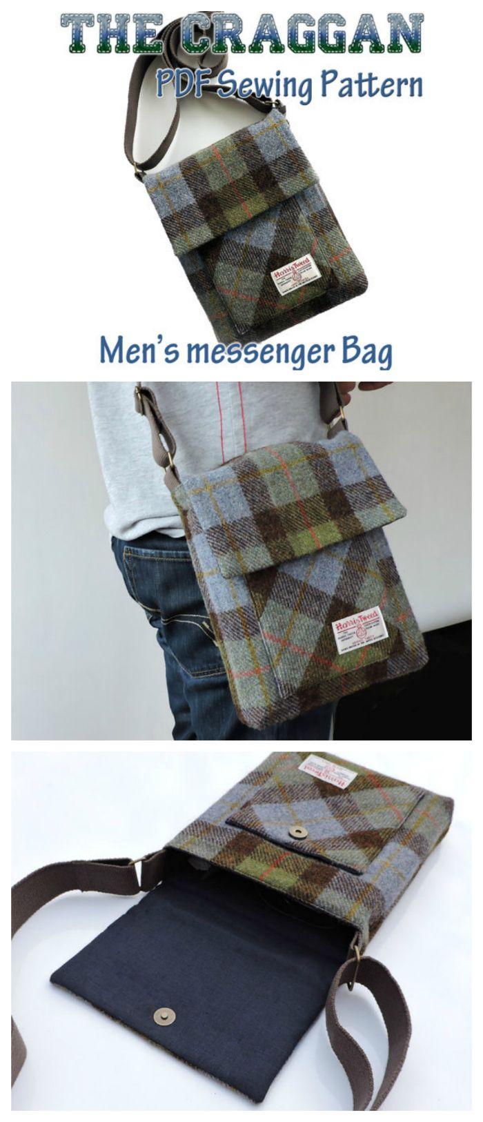 The Craggan, mens messenger bag pattern. iPad bag, man bag pattern ...
