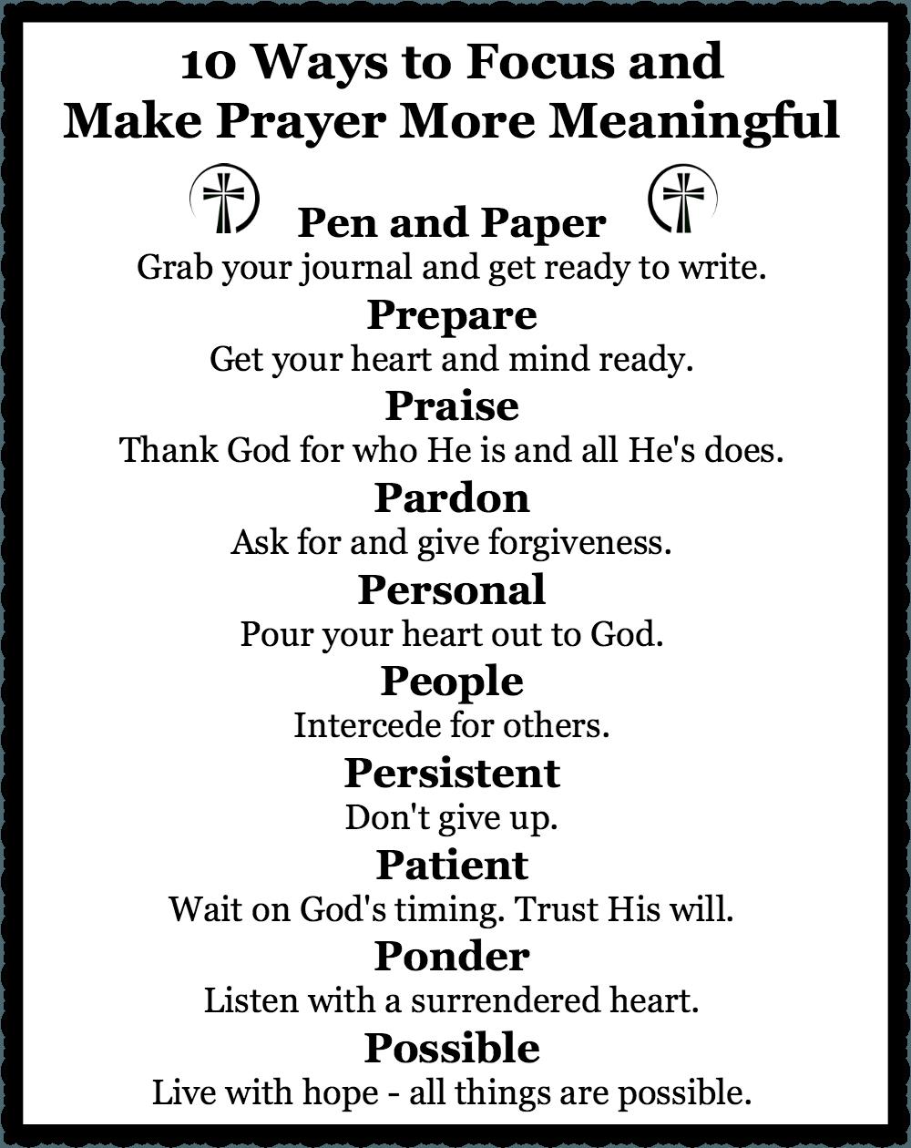 10 Ways to Focus and Make Prayer More Meaningful | Bible, Spiritual ...