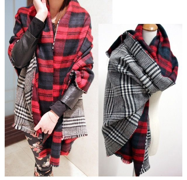 Double Sided Plaid Scarf My Style In 2019 Houndstooth