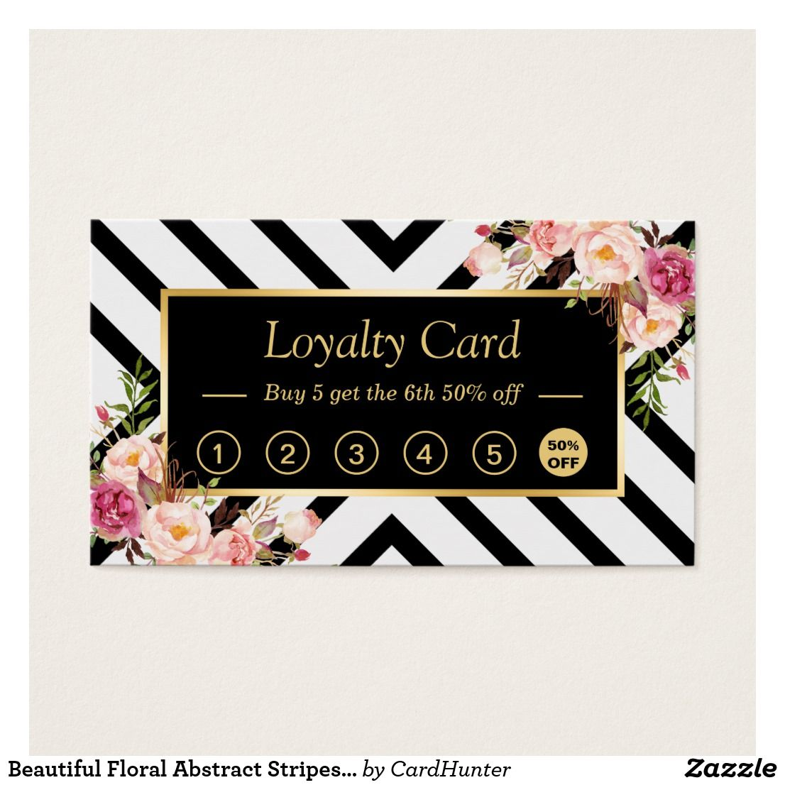 Beautiful Floral Abstract Stripes | Loyalty Card | Business Cards ...
