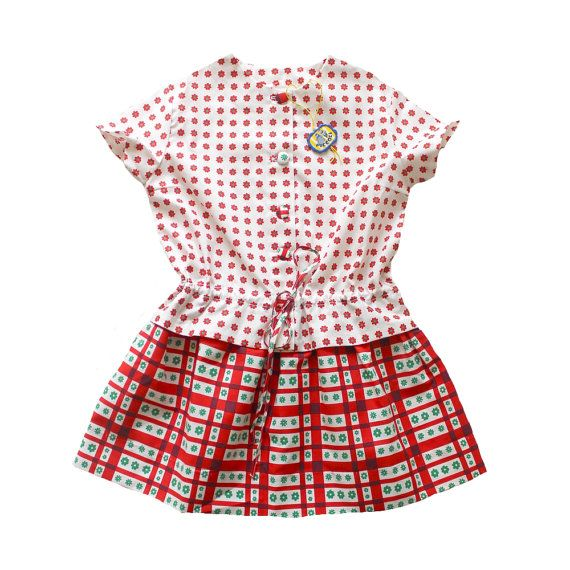 Vintage 70 39 S Kids Patterned Dress Printed Cotton Floral And Checkered New Old Stock Size 6 Years Vintage Outfits Clothes Lovely Dresses