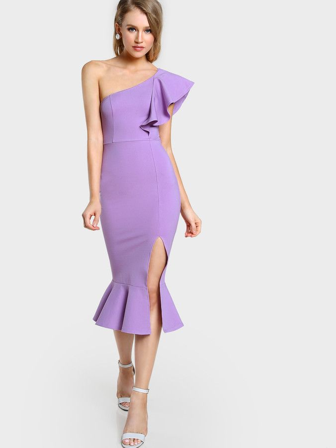 Shein Flounce One Shoulder Slit Fishtail Dress   Vestiditos