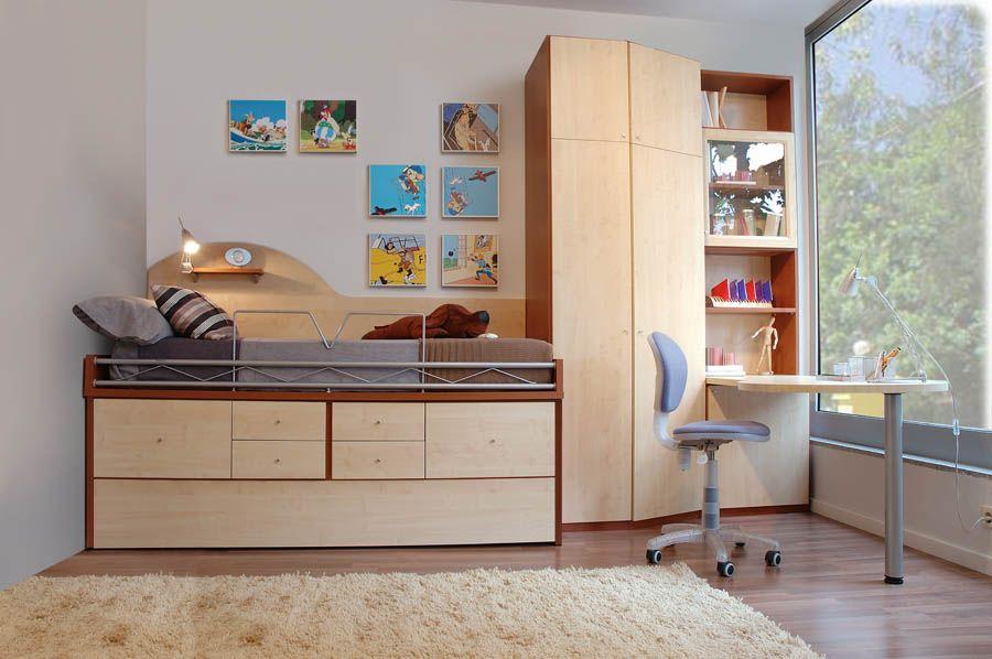 R77 juvenil compacto de cama nido con cajones armario for Muebles juveniles a medida barcelona