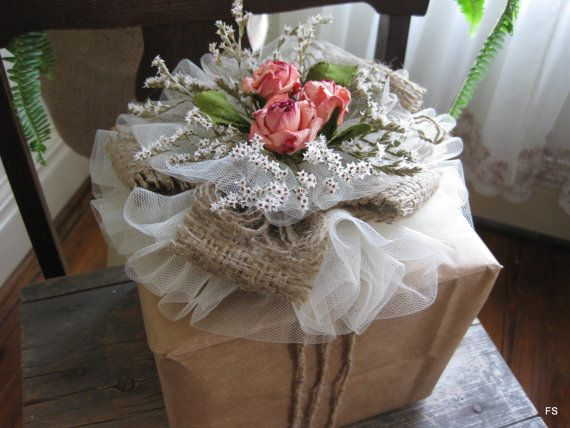 How To Wrap A Wedding Gift: To Tulle Rose Gift Topper