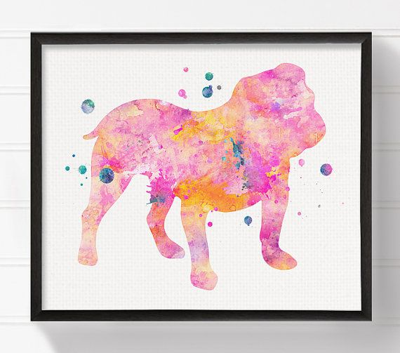 Pink Bulldog English Bulldog Art English Bulldog by MiaoMiaoDesign