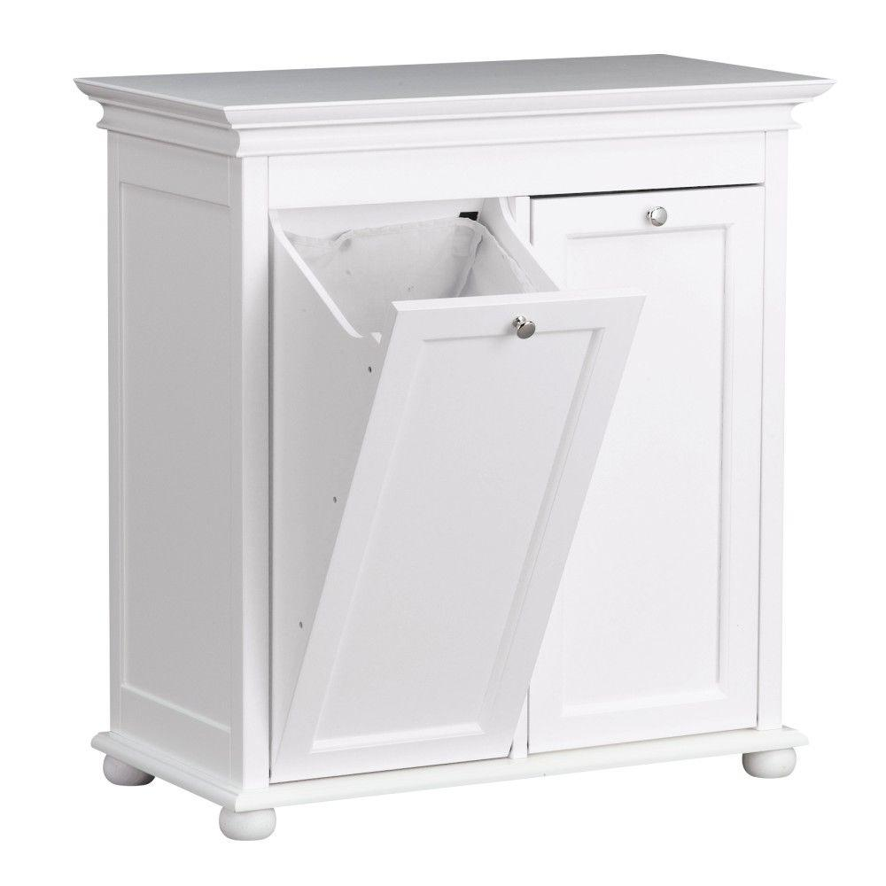 Unbranded Hampton Harbor 26 In Double Tilt Out Hamper In White Bf 20193 Wh The Home Depot White Laundry Hamper Laundry Room Storage Tilt Out Hamper