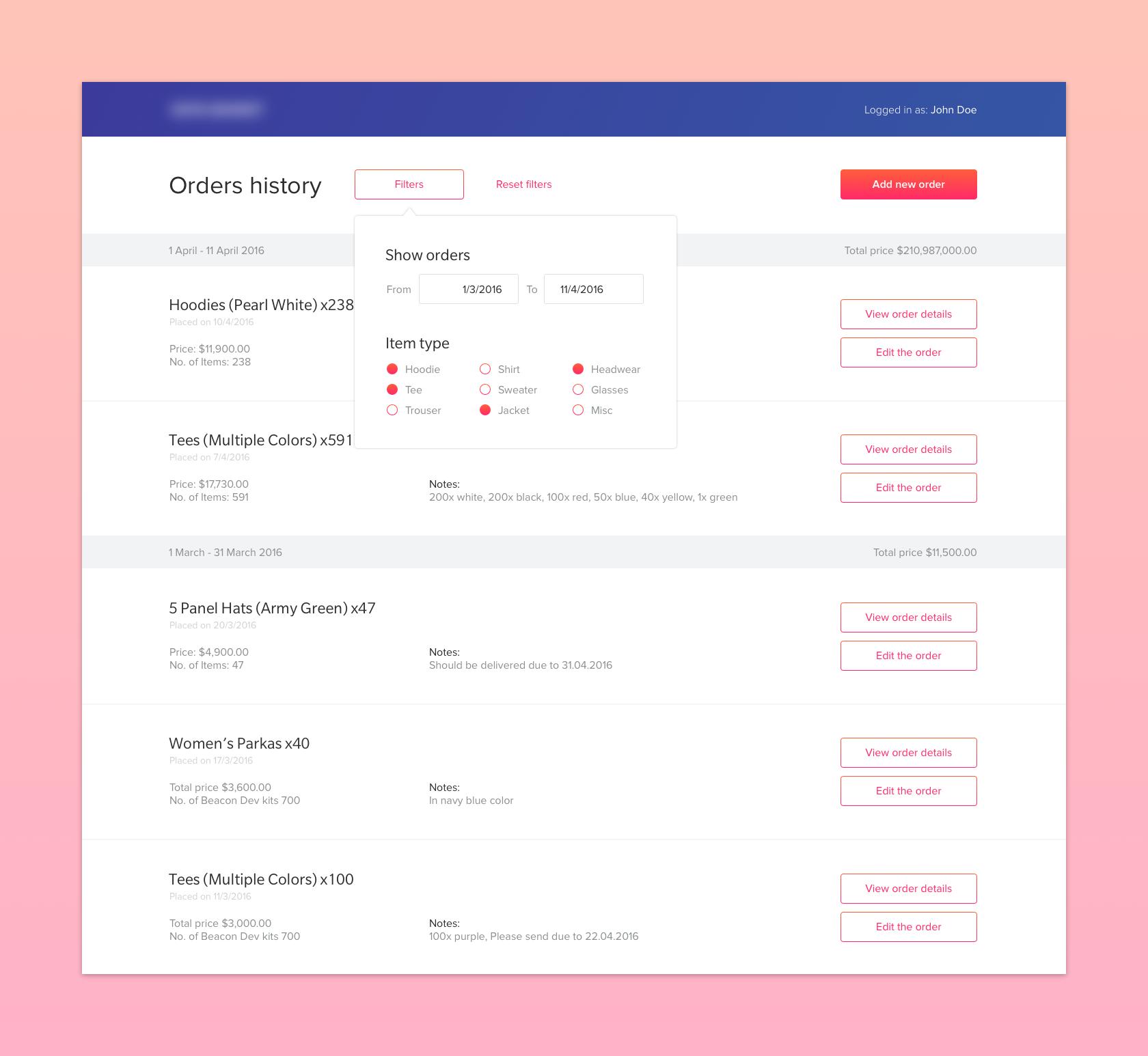 Orders dashboard big | [UI/UX] Admin Panels / Dashboards