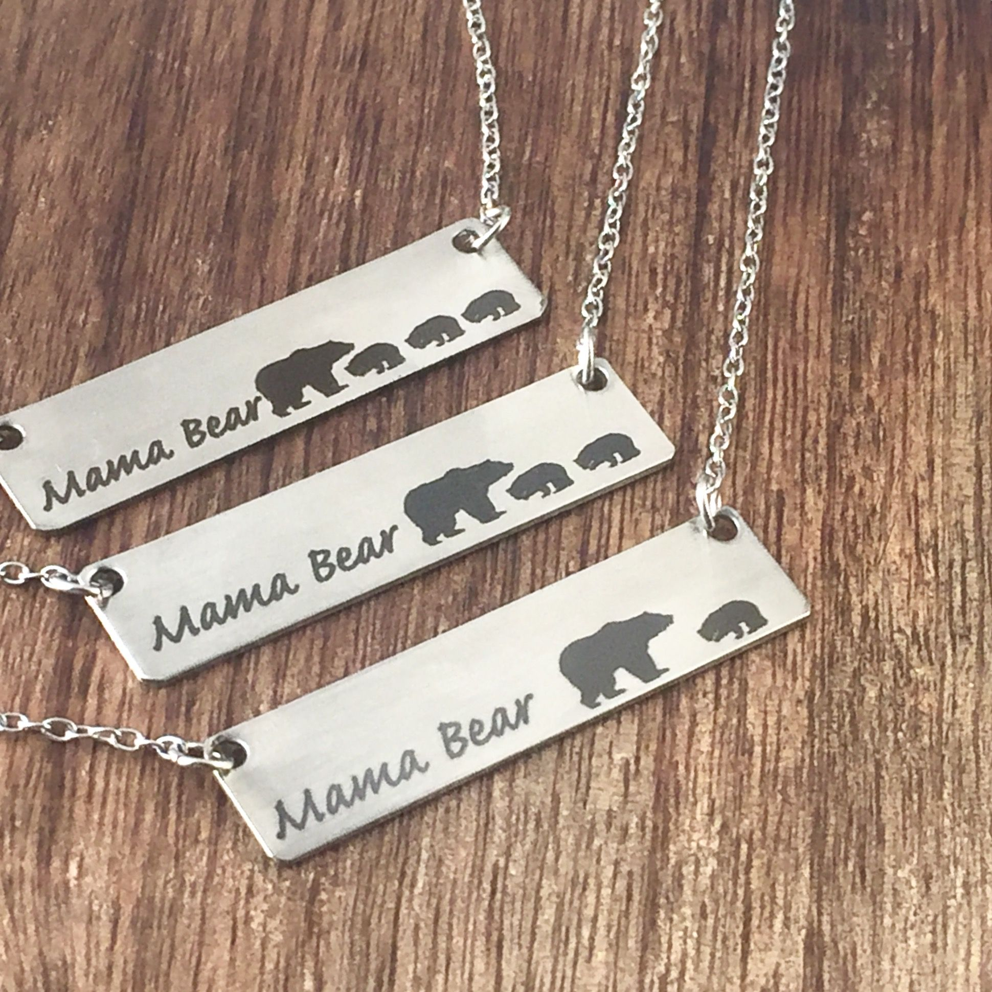 Mama Bear Necklace with up to 7 cubs gift for wife for girlfriend ...