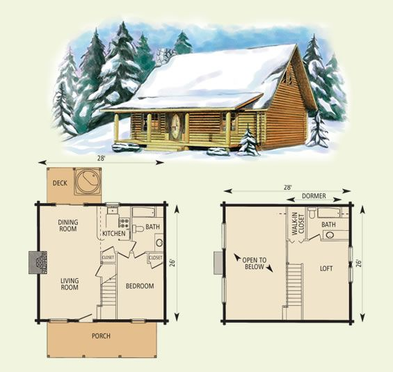 10+ Log cabin floor plans with loft ideas