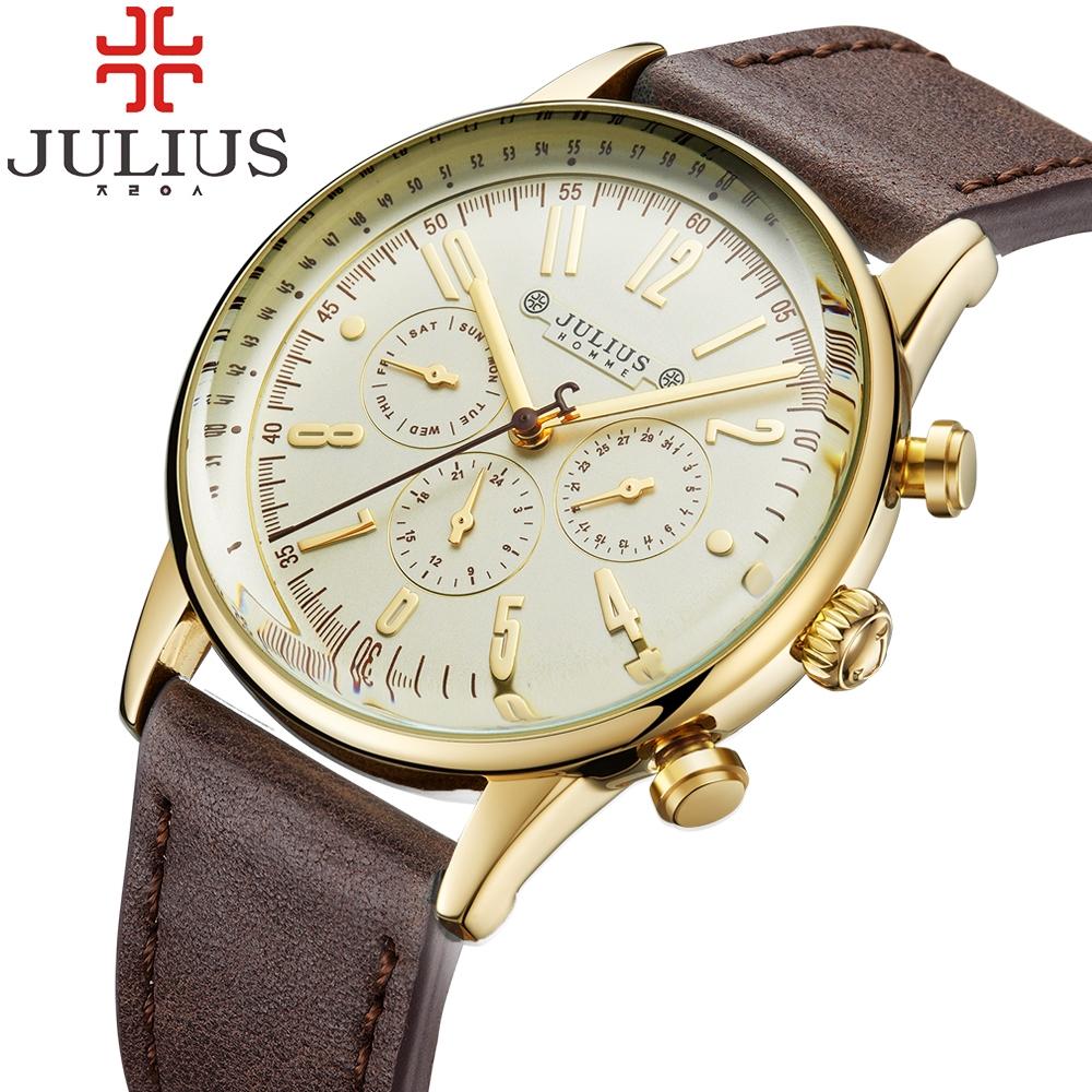 38.99$  Buy here - http://ali2ve.shopchina.info/go.php?t=32725619909 - Hot Sale Julius Luxury Men's Quartz Watch Clock Sport Military Watches Men Leather Gold Analog Wristwatch Reloj Hombre Montre  #buyonline