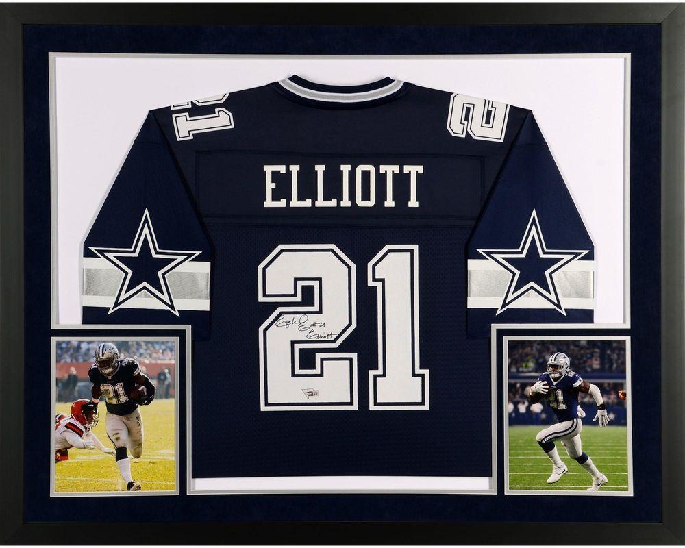 reputable site 7822d 0a37d Ezekiel Elliott Dallas Cowboys SM Deluxe Framed Autographed ...