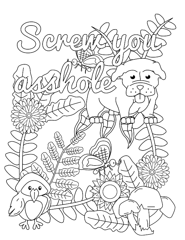 screw you asshole adult coloring page swear 14 free printable coloring pages visit swearstressawaycom to download and print 14 swear word coloring - Free Printable Swear Word Coloring Pages