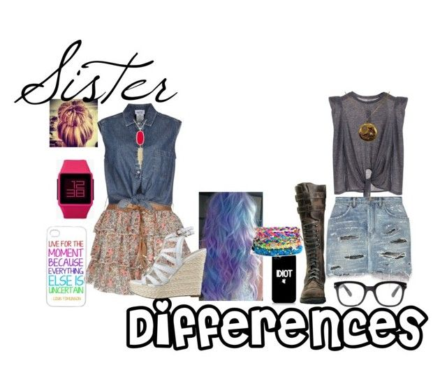 """""""Sister Differences #7 Skirts"""" by strangerthanfanfiction713 on Polyvore featuring Yves Saint Laurent, Forever 21, Jean-Paul Gaultier, GUESS, Nixon and Kendra Scott"""