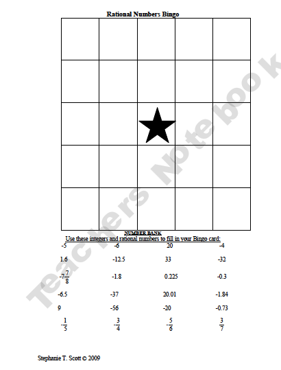 Crafty image in 7th grade math bingo printable