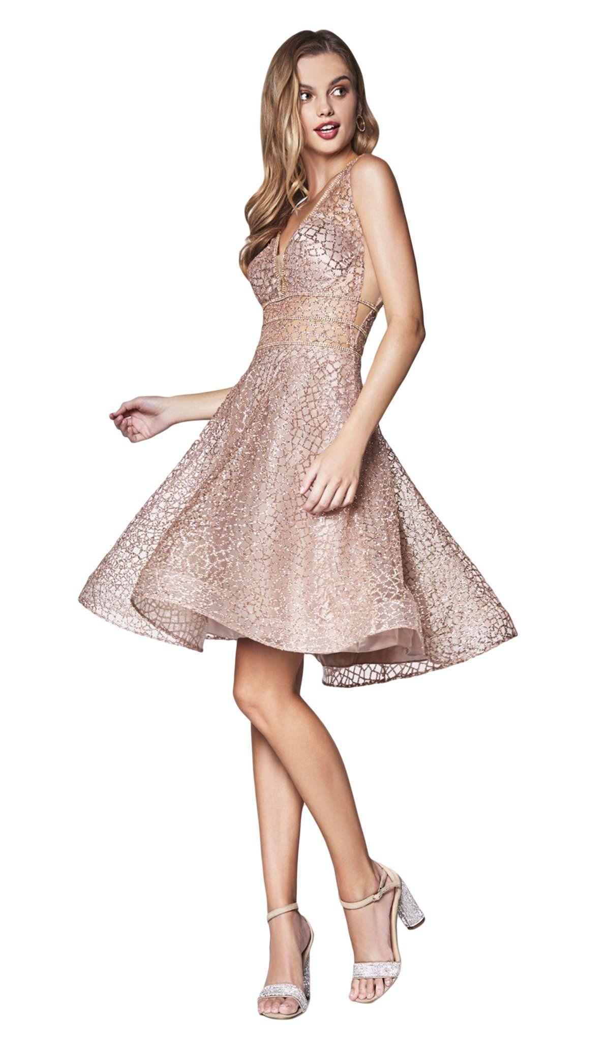 Cinderella Divine Cj256 S V Neck Metallic Glitter Cocktail Dress Dresses Short Cocktail Dress A Line Cocktail Dress [ 2048 x 1200 Pixel ]