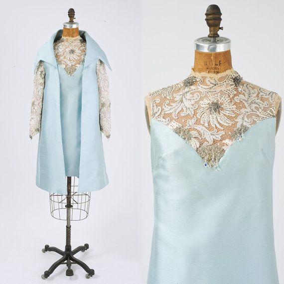 amazing '60s 2-pc silk & lace cocktail set #vintage