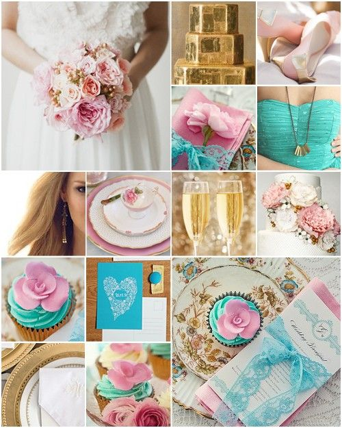 Turquoise Gold Pink Beautiful Colour Scheme Turquoise