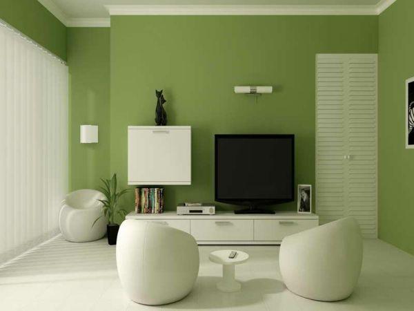 Wohnzimmer ideen wandgestaltung grün  60 frische Farbideen für Wandfarbe in Grün | Flur | Pinterest ...
