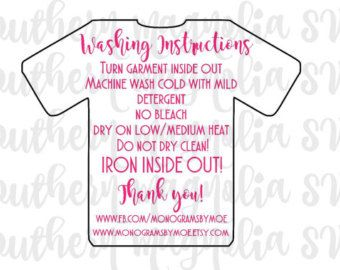 Care Card Instructions BUNDLE Apply Vinyl Decal Print And Vinyl - Custom vinyl decals machine for shirts