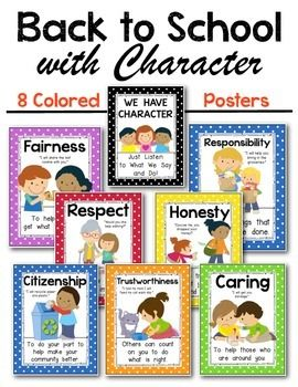 Citizenship & Character Education Posters Kindergarten & First Social Studies