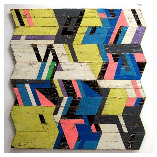 Geometric w/ Chevron Pattern w/ Black, White, Grey, Pink, Blue, Yellow & a Hint of Purple by Aaron Moran