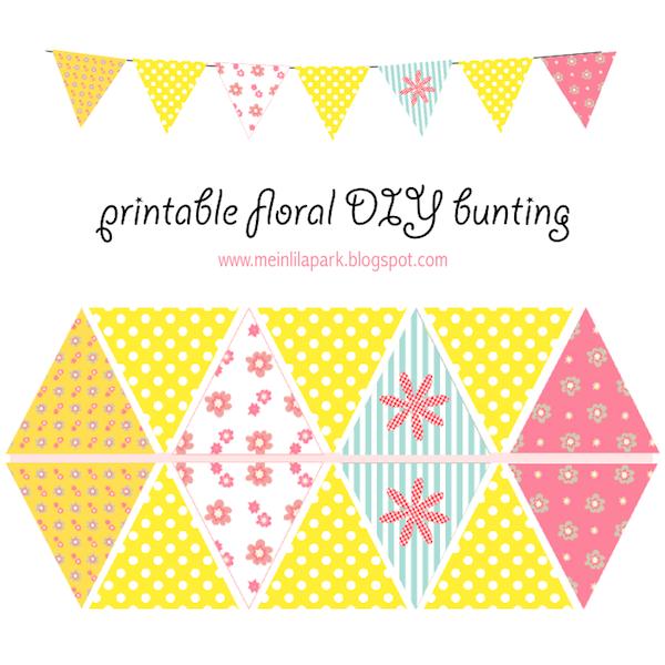 free printable floral diy bunting ausdruckbare girlande