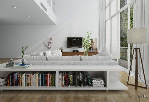 Etagere Basse Livre Salon Meuble Derriere Canape Decoration Interieure Deco Maison