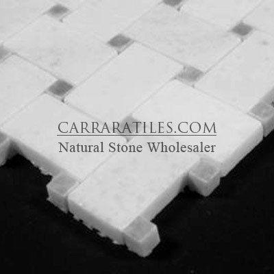 Statuary Crystal Marble Italian White Statuario Basketweave Mosaic Tile With Bardiglio Gray Dots Polished Statuary Marble Tile Hexagonal Mosaic Statuary