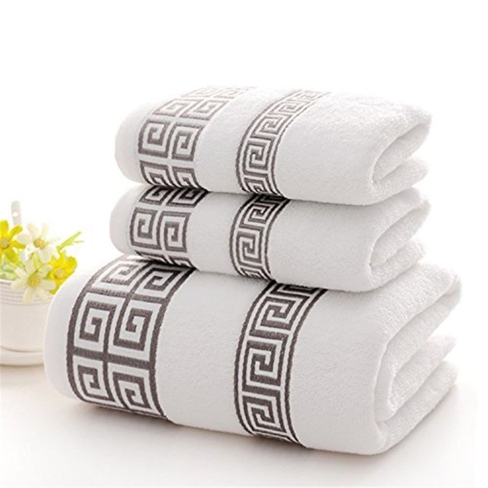 XHSP 3-Piece Hotel Bat Towel Set 100% Cotton Highly Absorbent Embroidered  Towels
