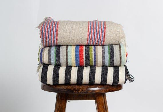 Boho Throw Blanket  Cotton Linen Table Runner  Uni