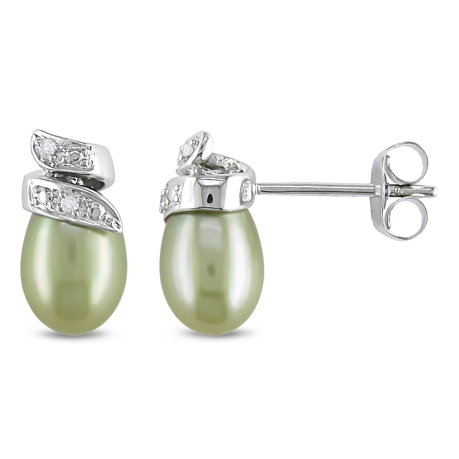 Miadora 10k Gold Green Cultured Freshwater Pearl and Diamond Stud Earrings