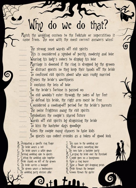 The Nightmare Before Christmas Bridal Shower Games