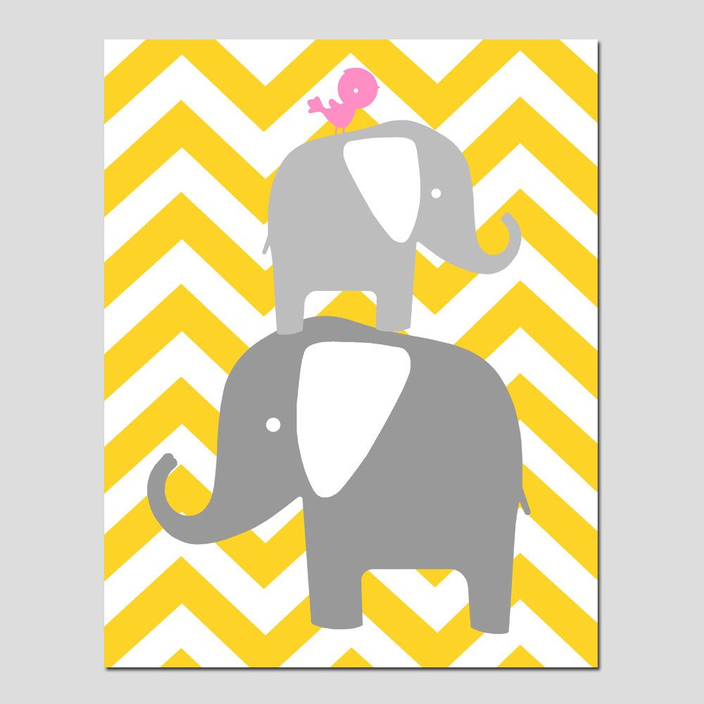 SALE - Chevron Elephant Bird Stack - 11x14 Print - Kids Wall Art ...
