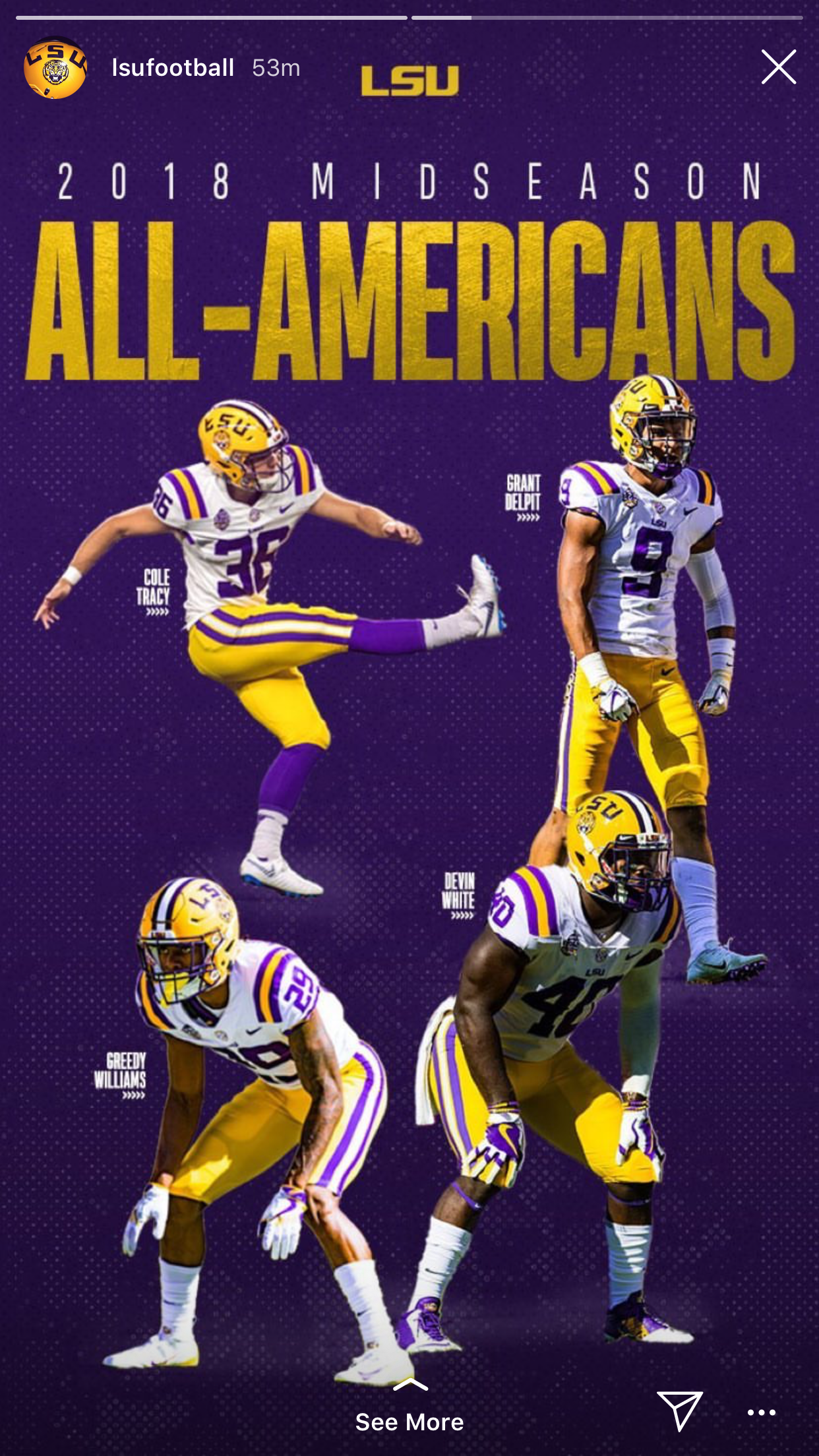 Mid Season All American Lsu Tigers Football Lsu Football Lsu Tigers