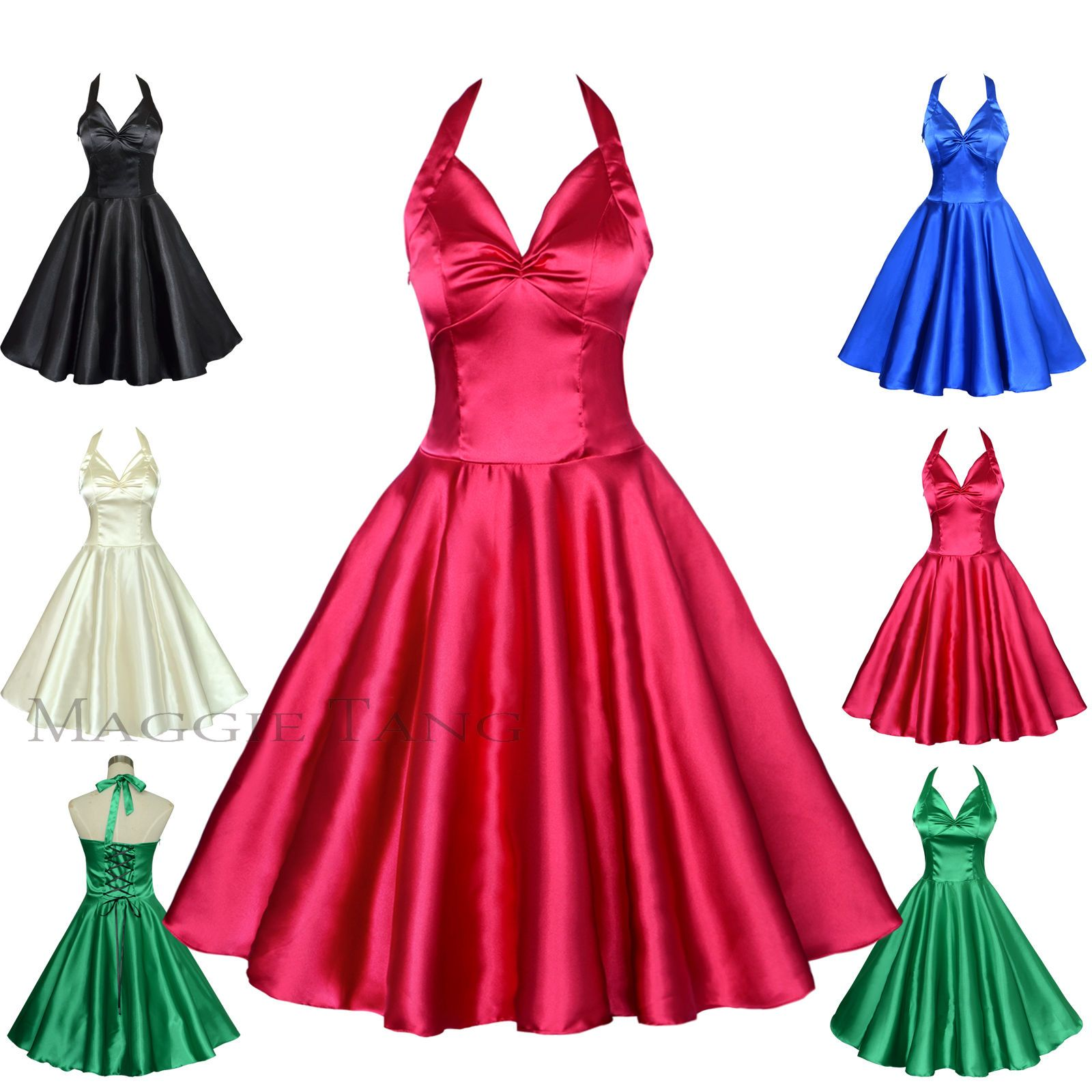 55fc56124c26 Maggie Tang 50S Satin Vtg Retro Rockabilly Pinup Party Swing Dress S-501