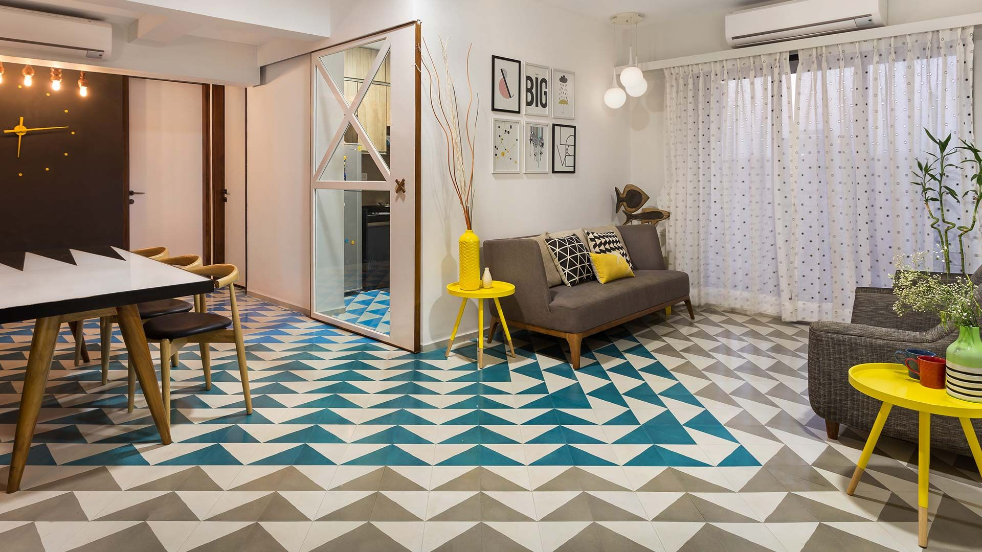 Bharat Floorings tiles, Le Mill pattern in Blue Lagoon and