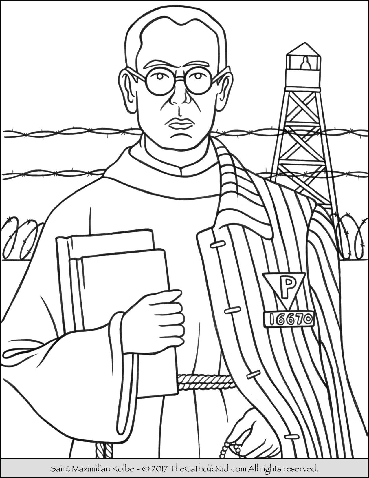 Saint Maximilian Kolbe Coloring Page Thecatholickid Com With