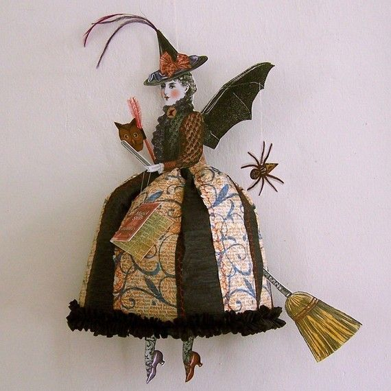 halloween decoration witch paper doll digital by rhondasoriginals 600 - Halloween Decorations Witches