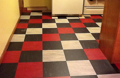 John S Kitchen Before And After Linoleum Tile Flooring Transforms The Room Vinyl Flooring Retro Renovation Flooring