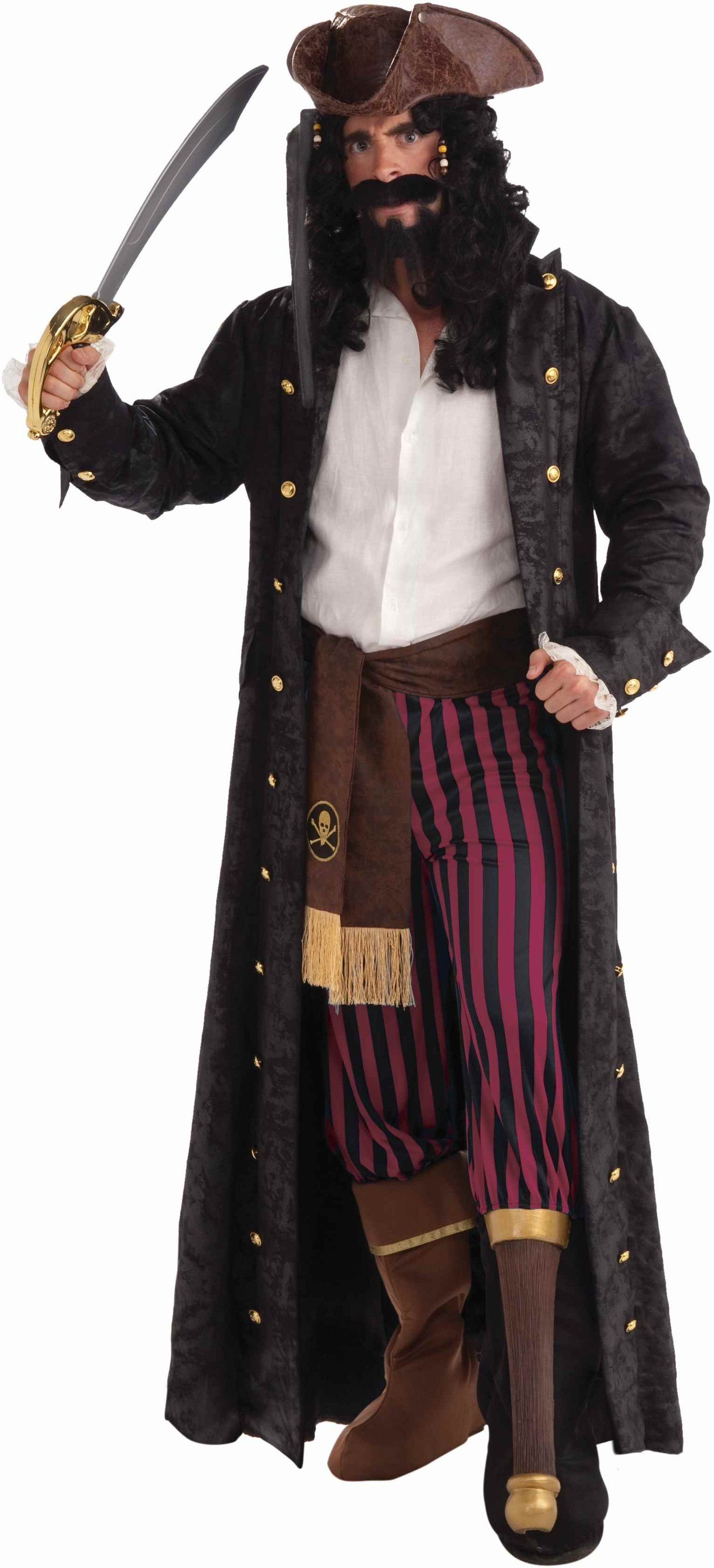 Mens Pirate Captain Long John Silver Halloween Costume | Long john ...