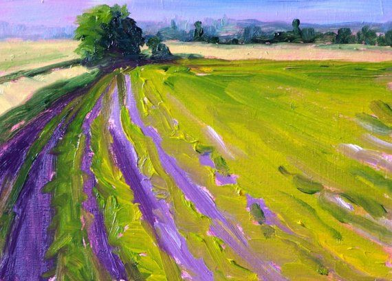 Lavender Field Original Landscape Oil Painting by smallimpressions