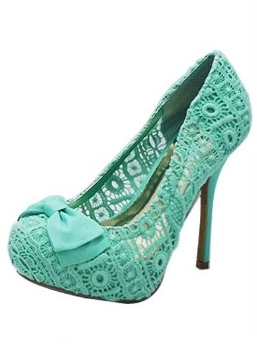 mint green bow lace platform high heels shoes pump