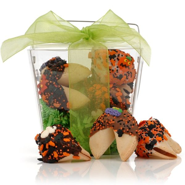 usa chocolate take out pail of 6 halloween fortune cookies