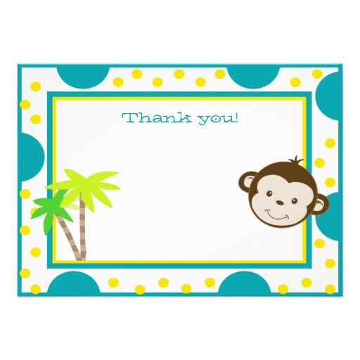 Cute Monkey Aqua Yellow Dot Birthday Thank you Custom Invitation