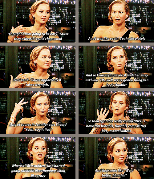 Jennifer on having to chop wood for the film Winter's Bone. she's so funny and has the best expressions!