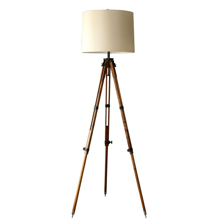 Antique Tripod Floor Lamp From A Unique Collection Of Antique