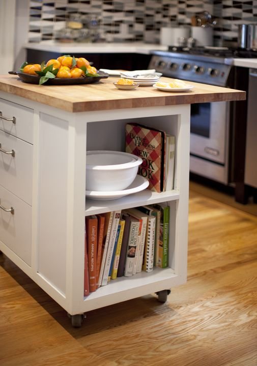 Custom kitchen island on wheels adds much needed storage ...